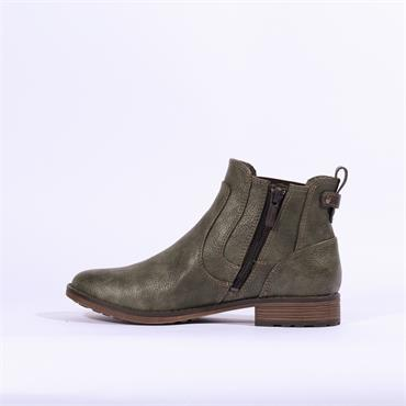 Mustang Flat Ankle Boot Side Gusset - Olive