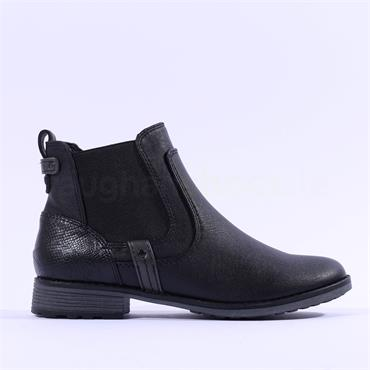 Mustang Flat Chelsea Ankle Boot - Black