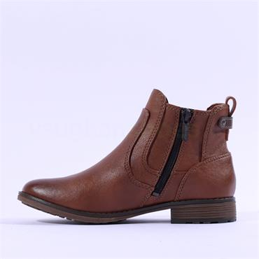 Mustang Flat Chelsea Ankle Boot - Cognac