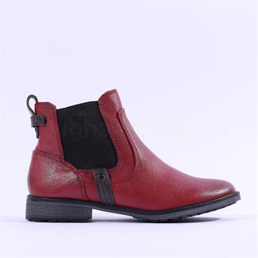 Mustang Flat Chelsea Ankle Boot - Red