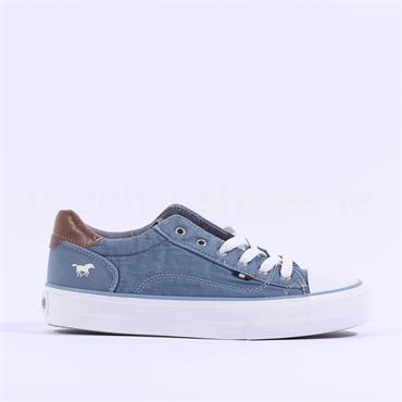 Mustang Casual Laced Trainer Toe Cap - Denim