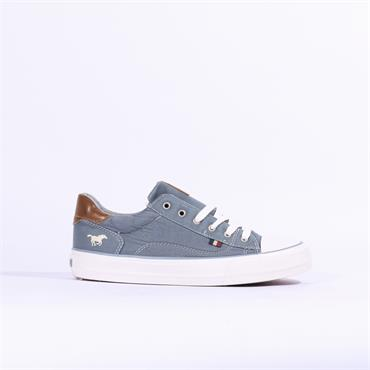 Mustang Casual Laced Trainer Toe Cap - LIGHT BLUE