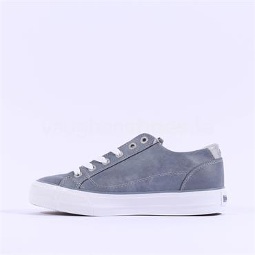 Mustang Laced Trainer With Side Zip - Sky