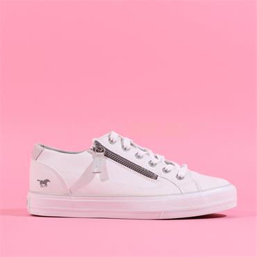 Mustang Laced Trainer With Side Zip - White