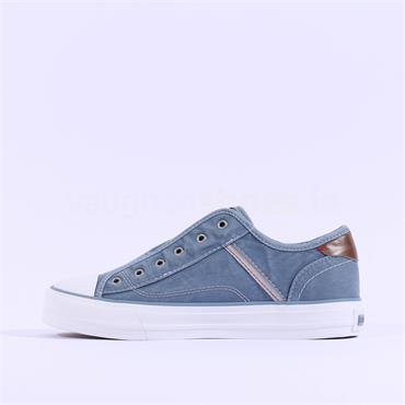 Mustang Casual Slip On Canvas Trainer - Denim