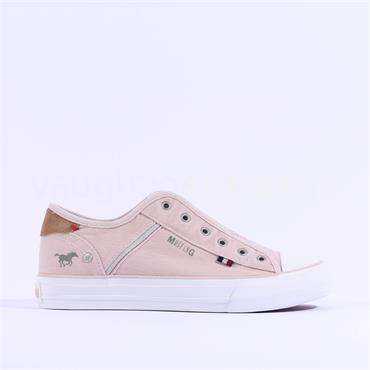Mustang Casual Slip On Canvas Trainer - Rose