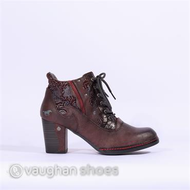 Mustang Laced Boot With Floral Design - Wine