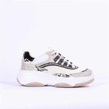 Mustang Chunky Sole Platform Trainer - White Snake