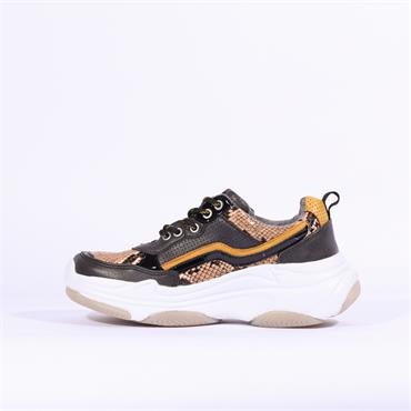 Mustang Chunky Sole Platform Trainer - Yellow Snake