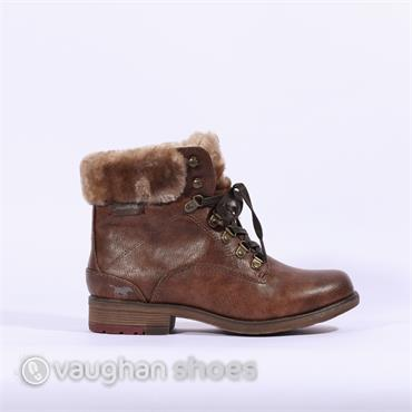 Mustang Fleece Cuffed Lace Up Boot - Brown