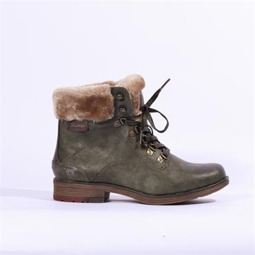 Mustang Fleece Cuffed Lace Up Boot - Olive