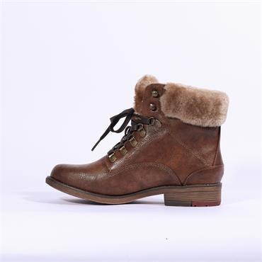 Mustang Fleece Cuffed Lace Up Boot - Tan
