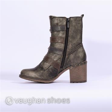 Mustang Strap And Buckle High Ankle Boot - Bronze