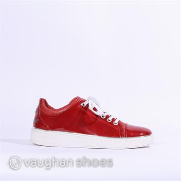 Mustang Laced Up Patent Trainer - Red