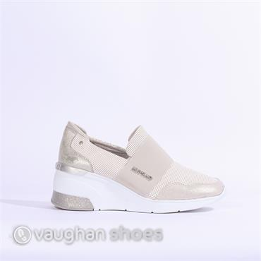 Mustang Wedge Slip On Trainer - White Silver