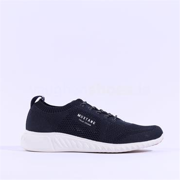 Mustang Fabric Lace Up Trainer - Navy