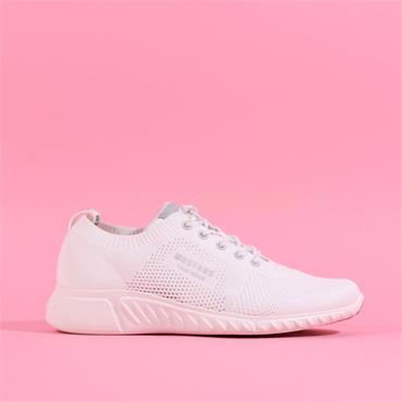 Mustang Fabric Lace Up Trainer - White