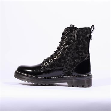 Mustang Patent Lace Up Military Boot - Black Leopard Combi