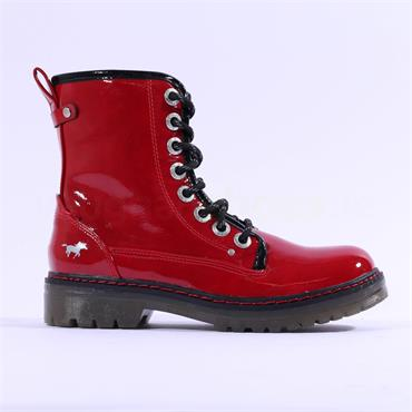 Mustang Lace Up Military Boot - Red Patent