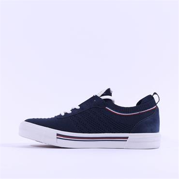 Mustang Trim Flat Fabric Laced Trainer - Navy
