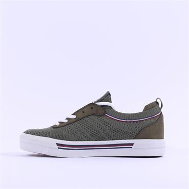 Mustang Trim Flat Fabric Laced Trainer - Olive