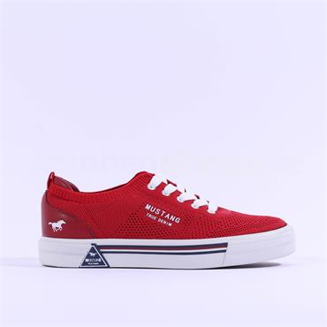 Mustang Flat Fabric Laced Trainer - Red
