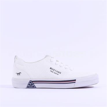 Mustang Flat Fabric Laced Trainer - White