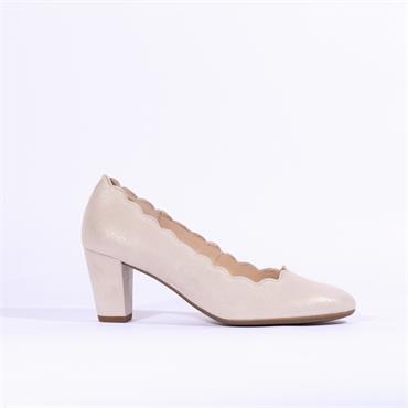 Gabor Scalloped Edge Court Shoe Evita - Taupe Gold