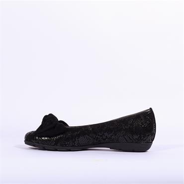 Gabor Bow Detail Pomp Redshank - Black Snake