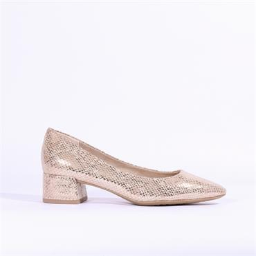Marco Tozzi Boro Snake Low Block Heel - Rose Gold