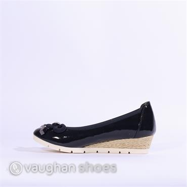 Marco Tozzi Patent Wedge Bow Detail - Navy Patent
