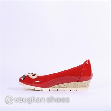 Marco Tozzi Patent Wedge Bow Detail - Red Patent