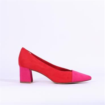 Marco Tozzi Suede Block Heel - Red Pink