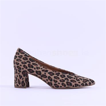 Marco Tozzi Baci V Cut Low BLock Heel - Leopard Print