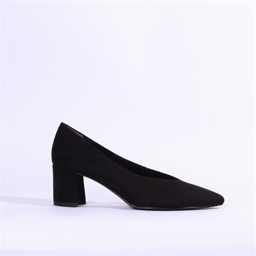 Marco Tozzi V Cut Suede Block Heel Shoe - Black Suede