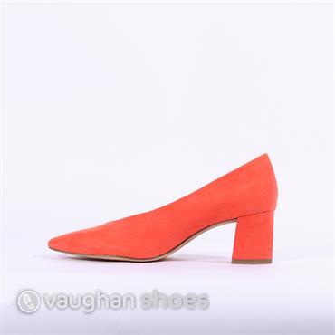 Marco Tozzi V Cut Suede Block Heel Shoe - Orange