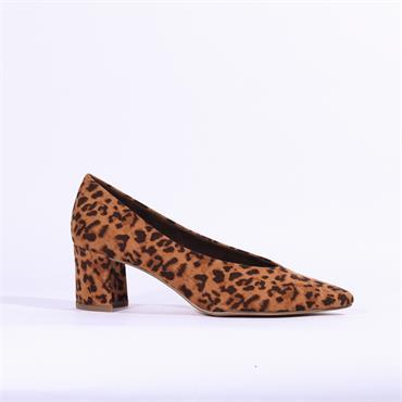 Marco Tozzi V Cut Suede Block Heel Shoe - Leopard Skin