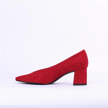 Marco Tozzi V Cut Suede Block Heel Shoe - Red