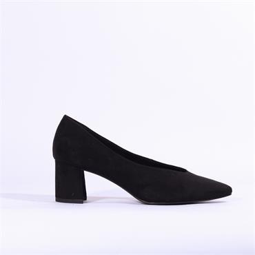 Marco Tozzi V Cut Suede Block Heel Shoe - Black Sde
