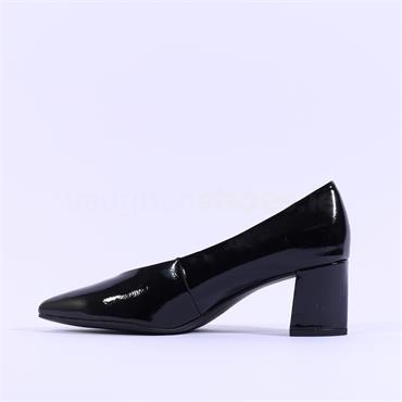 Marco Tozzi Baci Low Block Heel - Black Patent