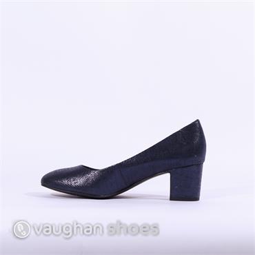 baf0ca2fa0ac5 ... Marco Tozzi Low Block Heel Court Shoe - Navy Glitter
