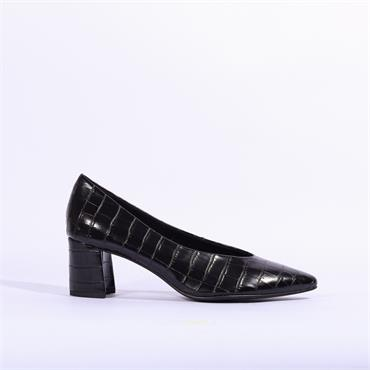 Marco Tozzi Low Block Heel Baci - Black Croc