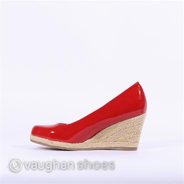 0ccaae5a0fc1 ... Marco Tozzi Wedge With Weaved Heel - Red