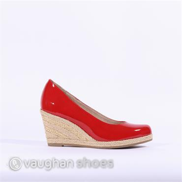 Marco Tozzi  Wedge With Weaved Heel - Red