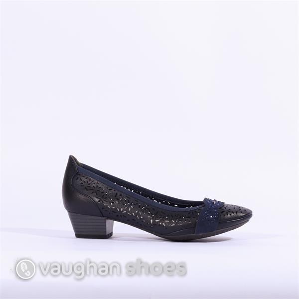 c7eeefc09c751 Marco Tozzi Low Heel Perforated Shoe - Navy | Vaughan Shoes | Ireland