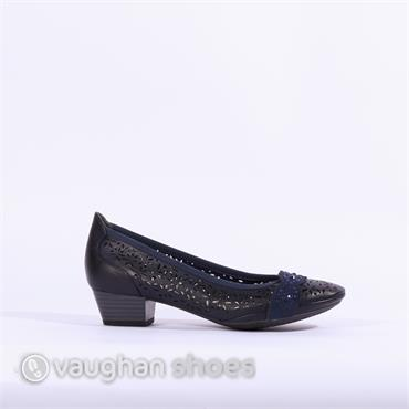 Marco Tozzi Low Heel Perforated Shoe - Navy