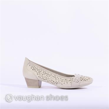 Marco Tozzi Low Heel Perforated Shoe - Taupe