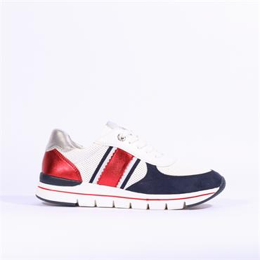 Marco Tozzi Bosa Vegan Lace Up Trainer - White Red Navy