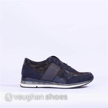 Marco Tozzi Slip On Sneaker With Elastic - Navy Combi
