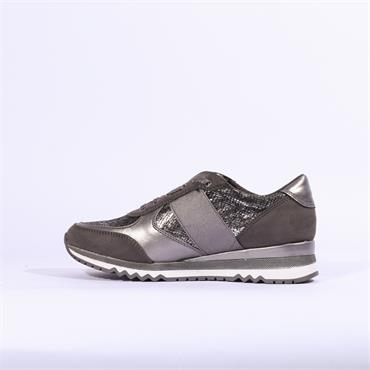 Marco Tozzi Bonalloi Metallic Trainer - Dark Grey Combi